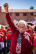 05 OCTOBER 2013 - PHOENIX, ARIZONA: An elderly man gives a clenched fist salute during an immigration reform rally in Phoenix. More than 1,000 people marched through downtown Phoenix Saturday to demonstrate for the DREAM Act and immigration reform. It was a part of the National Day of Dignity and Respect organized by the Action Network.    PHOTO BY JACK KURTZ