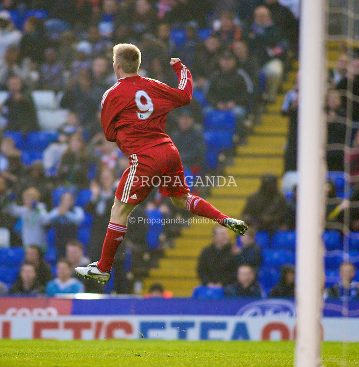 BIRMINGHAM, ENGLAND - Thursday, April 16, 2009: Liverpool's Lauri Dalla Valle celebrates scoring his second goal against Birmingham City in the FA Youth Cup Semi-Final 1st Leg match at St Andrews. (Pic by Gareth Davies/Propaganda)