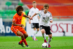 Nathan Ake of Netherlands vs Maximilian Meyer of Germany during the UEFA European Under-17 Championship Final match between Germany and Netherlands on May 16, 2012 in SRC Stozice, Ljubljana, Slovenia. (Photo by Vid Ponikvar / Sportida.com)
