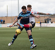 Clyde's (on loan from Dundee) central defender Kerr Waddell challenges Forfar's Jim Lister during Forfar's 3-0 win over Clyde in SPFL League Two  at Station Park, Forfar, Photo: David Young<br /> <br />  - &copy; David Young - www.davidyoungphoto.co.uk - email: davidyoungphoto@gmail.com