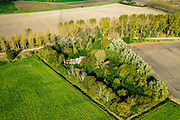 Nederland, Zeeland, Gemeente Borsele, 19-10-2014;  Zak van Zuid-Beveland, omgeving Nisse. Vervallen boerderij, het erf is 'teruggeven aan de natuur'.<br /> Derelict farmhouse, the property has been 'returned to nature'.<br /> Southwest Netherlands.<br /> luchtfoto (toeslag op standard tarieven);<br /> aerial photo (additional fee required);<br /> copyright foto/photo Siebe Swart