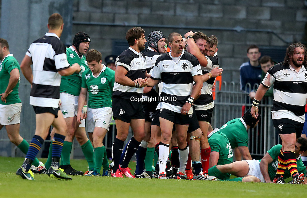 Barbarians Summer Tour Match, Thomond Park, Limerick 28/5/2015 <br /> Ireland XV vs Barbarians<br /> Barbarians' Alex Cuthbert celebrates scoring his second try with Shane Jennings and Gerhard Vosloo<br /> Mandatory Credit &copy;INPHO/Dan Sheridan