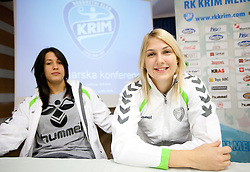 Players Andrea Lekic and  Tamara Mavsar during press conference of handball team RK Krim Mercator before new season 2010-2011, on September 29, 2010 in M-Hotel, Ljubljana, Slovenia. (Photo By Vid Ponikvar / Sportida.com)