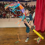 Students try to bust a star shaped piñata during a pep rally to energize for STAAR testing at Garcia Elementary School, March 27, 2014.