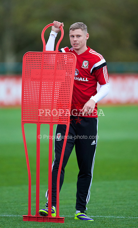 CARDIFF, WALES - Wednesday, November 13, 2013: Wales' Simon Church during a training session at the Vale of Glamorgan ahead of the international friendly match against Finland. (Pic by David Rawcliffe/Propaganda)