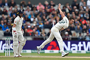 Josh Hazlewood of Australia bowling during the International Test Match 2019, fourth test, day three match between England and Australia at Old Trafford, Manchester, England on 6 September 2019.