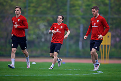 NANNING, CHINA - Sunday, March 25, 2018: Wales' Lee Evans, Harry Wilson and Marley Watkins during a training session at the Guangxi Sports Centre ahead of the 2018 Gree China Cup International Football Championship final match against Uruguay. (Pic by David Rawcliffe/Propaganda)
