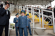 Security officers at the City Hippodrome grandstand in Ashgabat on the eoccasion of the National Turkmen Horse Day