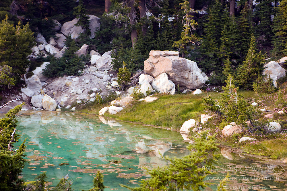 A turquoise stream flows along Bumpass Hell, the largest hydrothermal area in Lassen Volcanic National Park, California, USA.