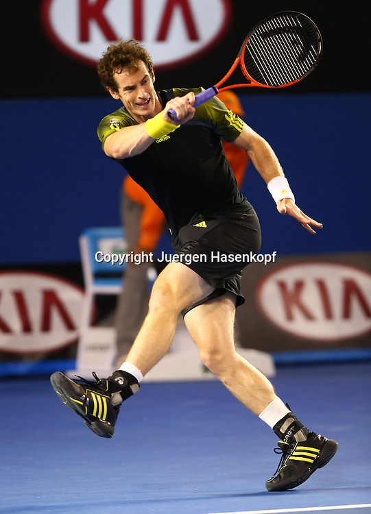Australian Open 2013, Melbourne Park,ITF Grand Slam Tennis Tournament,Herren Endspiel,Finale,.Andy Murray (GBR);Aktion,Einzelbild,.Ganzkoerper,Hochformat,