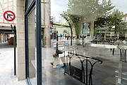 closed cafe during the Covid 19 crisis and lockdown France Limoux April 2020