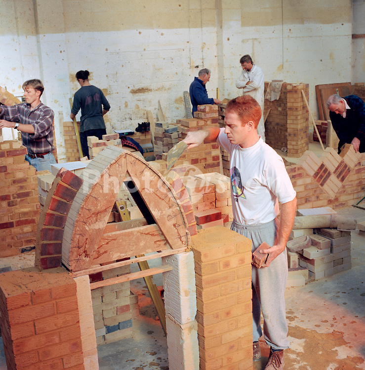 Student in bricklaying class; Lewisham College