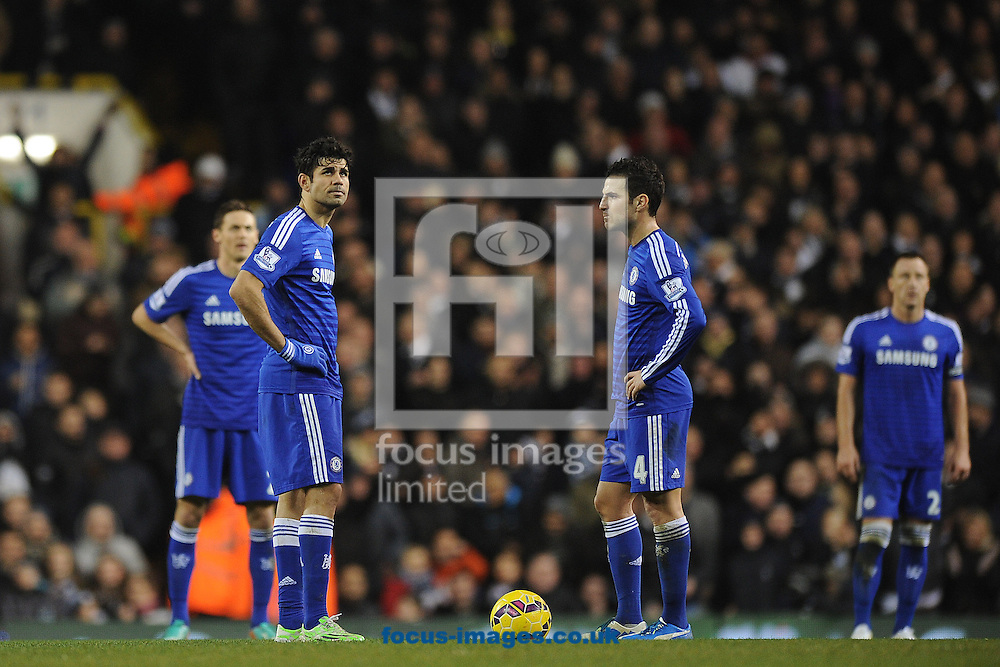 Diego Costa of Chelsea looks on after his team concede a fifth goal during the Barclays Premier League match between Tottenham Hotspur and Chelsea  at White Hart Lane, London<br /> Picture by Richard Blaxall/Focus Images Ltd +44 7853 364624<br /> 01/01/2015