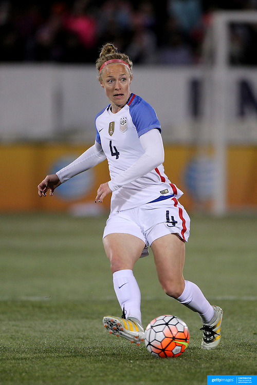 Becky Sauerbrunn, USA, in action during the USA Vs Colombia, Women's International friendly football match at the Pratt & Whitney Stadium, East Hartford, Connecticut, USA. 6th April 2016. Photo Tim Clayton