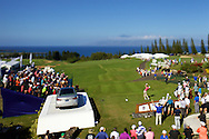 January 07 2016:  Peter Malnati hits his tee shot during the First Round of the Hyundai Tournament of Champions at Kapalua Plantation Course on Maui, HI. (Photo by Aric Becker)