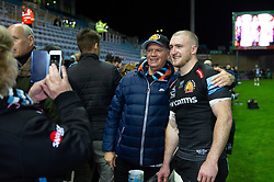 Stuart Hogg of Exeter Chiefs poses for photos with supporters after the match - Mandatory byline: Patrick Khachfe/JMP - 07966 386802 - 10/11/2019 - RUGBY UNION - Sandy Park - Exeter, England - Exeter Chiefs v Bristol Bears - Gallagher Premiership