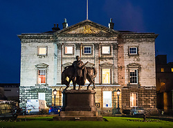 Exterior night view of Royal Bank of Scotland headquarters in St Andrews Square Edinburgh, Scotland, United Kingdom