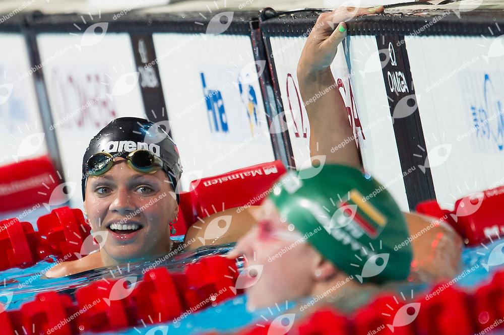Yuliya Efimova RUS and Ruta Meilutyte LTU new world record <br /> Women's 50m breaststroke semifinal<br /> 15th FINA World Aquatics Championships<br /> Palau Sant Jordi, Barcelona (Spain) 03/08/2013 <br /> &copy; Giorgio Perottino / Deepbluemedia.eu / Insidefoto