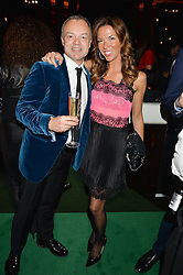 GRAHAM NORTON and HEATHER KERZNER at the Warner Music Brit Party held at the Freemason's Hall, 60 Great Queen Street, London on 25th February 2015.