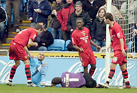 Photo: Ed Godden/Sportsbeat Images.<br />Coventry City v Cardiff City. Coca Cola Championship. 10/02/2007. Cardiff City players surround Coventry's Leon McKenzie (on floor) after making a double footed challenge on keeper Neil Alexander.
