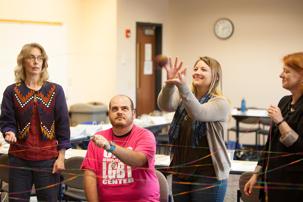 Jessica Orlowski catches a ball of yarn during the Web of Affirmation exercise at the Summer Institute for Diversity Education (SIDE) at Ohio University. The programs is designed to promote cross-cultural understanding and inclusiveness.  Photo by Ohio University / Jonathan Adams