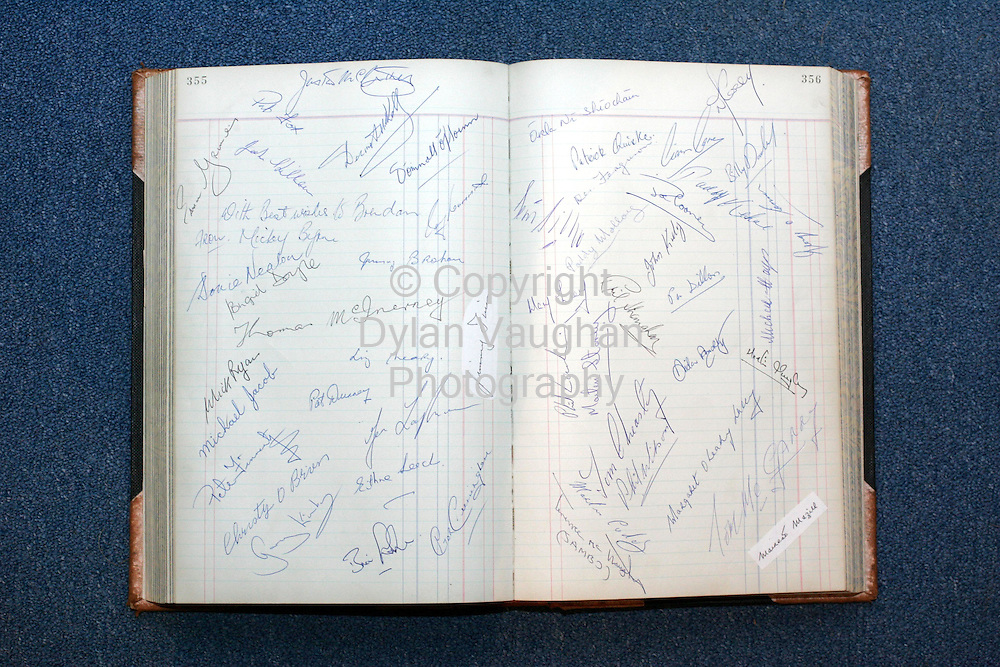 7/1/2005.One of the pages with the signatures in Brendan Fullams journals.Picturre Dylan Vaughan