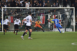 November 3, 2018 - Vercelli, Italy - Italian stricker Daniele Cacia from Novara Calcio team score a goal during Saturday evening's match against Pro Vercelli team valid for the 10th day of the Italian Lega Pro championship  (Credit Image: © Andrea Diodato/NurPhoto via ZUMA Press)