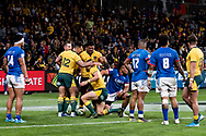 SYDNEY, AUSTRALIA - SEPTEMBER 07: Wallabies celebrate the try of Adam Ashley-Cooper during the international rugby test match between the Australian Wallabies and Manu Samoa on September 07, 2019 at Bankwest Stadium in Sydney, Australia. (Photo by Speed Media/Icon Sportswire)