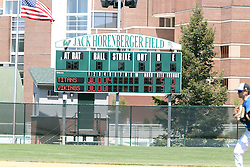 11 May 2013:  Titans get 4 runs in the 5th on the scoreboard in Jack Horenberger Field during an NCAA division 3 College Conference of Illinois and Wisconsin (CCIW) Pay in Baseball game during the Conference Championship series between the North Park Vikings and the Illinois Wesleyan Titans at Jack Horenberger Stadium, Bloomington IL