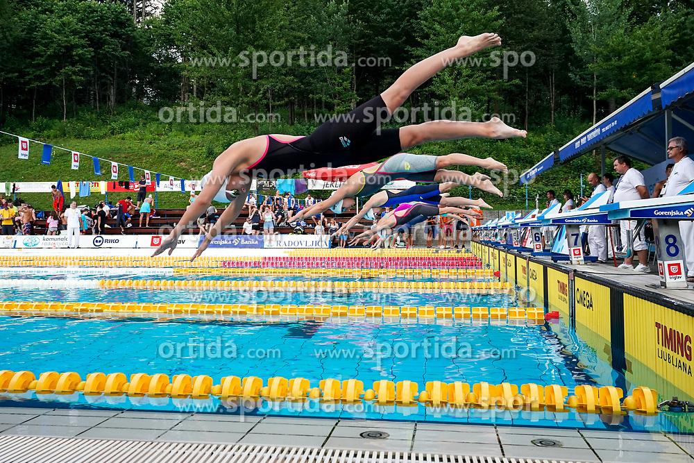 "Swimmers jumping into water during 43rd International Swimming meeting ""Telekom 2019"", on July 13, 2019 in Radovljica, Slovenia. Photo by Matic Klansek Velej / Sportida"