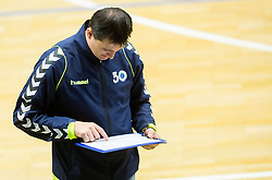 Roman Savric, head coach of Trimo Trebnje during handball game between RK Trimo Trebnje and RK Gorenje Velenje in 3rd place match of Slovenian Cup  2014 on March 2, 2014 in Arena Golovec, Celje, Slovenia. Photo by Vid Ponikvar / Sportida