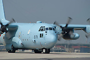 A Japanese Air Self-Defense Force Lockheed C-130H transport aeroplane at the Komaki Airshow.