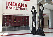 General overall view of the a atrium of Steve Alford (12) and Keith Smart (23) at the Simon Skjodt Assembly Hall on the campus of the University of Indiana in Bloomington, Ind., Thursday, June 13, 2018. The 17,222-seat arena is the home of the Indiana Hoosiers men's basketball and women's basketball teams. It opened in 1971, replacing the current Gladstein Fieldhouse.[8] The court is named after Branch McCracken, the men's basketball coach who led the school to its first two NCAA National Championships in 1940 and 1953.