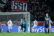 Keylor NAVAS (PSG), celebration, greeted the God after stopped the penalty from Mbaye Diagne (FC Bruges), Mbaye Diagne (FC Bruges), Marco Verratti (PSG), Fresnel Kimpembe (PSG) during the UEFA Champions League, Group A football match between Paris Saint-Germain and Club Brugge on November 6, 2019 at Parc des Princes stadium in Paris, France - Photo Stephane Allaman / ProSportsImages / DPPI