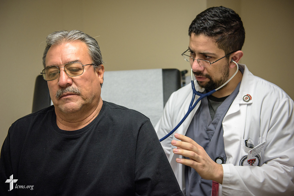 Mike Perez is treated at the RotaCare clinic, a free medical clinic sponsored by the Rotary Club of El Paso, on the campus of Ysleta Lutheran Mission Human Care in El Paso, Texas, on Saturday, May 21, 2016. LCMS Communications/Erik M. Lunsford