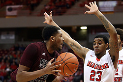 28 January 2015:   Gavin Thurman guarded by Deontae Hawkins during an NCAA MVC (Missouri Valley Conference) men's basketball game between the Missouri State Bears and the Illinois State Redbirds at Redbird Arena in Normal Illinois