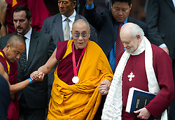 """The Dalai Lama leaving St Paul's Cathedral after receiving The Templeton Prize on May 14th 2012..The Dalai Lama has said he will give away to charity £1.1m in prize money being awarded to him...The Tibetan spiritual leader is receiving the annual Templeton Prize in London for exceptional contribution to """"affirming life's spiritual dimension""""...Photo/ Ki Price/i-Images"""