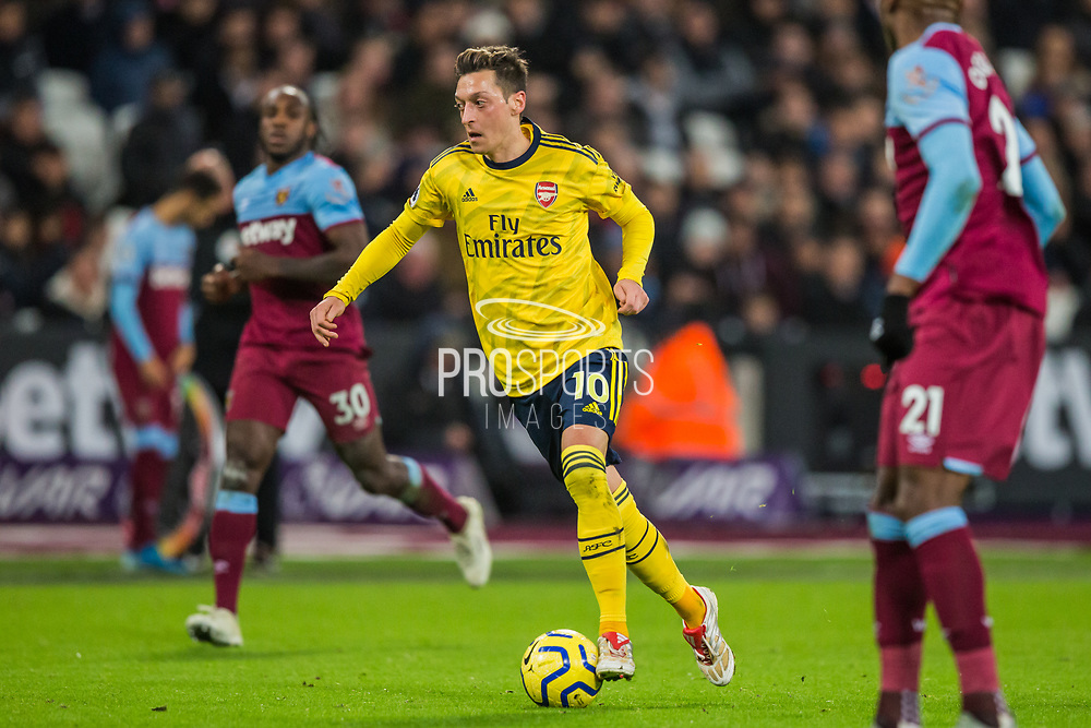 Mesut Ozil (Arsenal) during the Premier League match between West Ham United and Arsenal at the London Stadium, London, England on 9 December 2019.