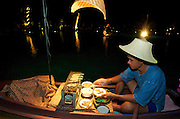 hat Mae Nam (beach). Poolside Thai Dinner Buffet at Santiburi Dusit Resort. Swimming satay from boats in the pool.