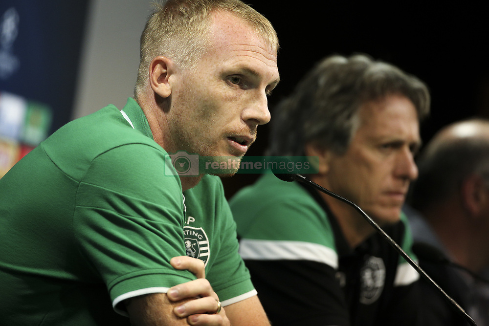 September 26, 2017 - Lisbon, Portugal - Sporting's defender Jeremy Mathieu and Sporting's head coach Jorge Jesus during a press conference at Alvalade stadium in Lisbon,  on September 26, 2017, on the eve of the UEFA Champions League Group D football match Sporting CP vs FC Barcelona. (Credit Image: © Filipe Amorim/NurPhoto via ZUMA Press)