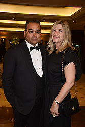 Krishnan Guru-Murthy and his wife Lisa at The Asian Awards, The Hilton Park Lane, London England. 5 May 2017.<br /> Photo by Dominic O'Neill/SilverHub 0203 174 1069 sales@silverhubmedia.com