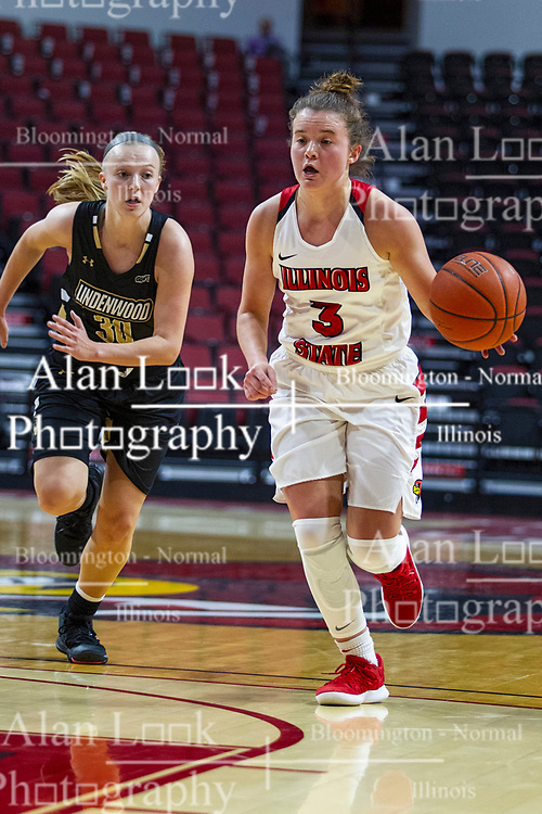 NORMAL, IL - October 30: Mary Crompton leads Lindsay Medlen into the lane during a college women's basketball game between the ISU Redbirds and the Lions on October 30 2019 at Redbird Arena in Normal, IL. (Photo by Alan Look)