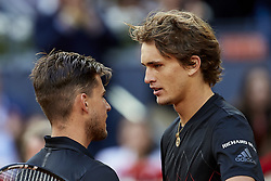 May 13, 2018 - Madrid, Madrid, Spain - Alexander Zverev (R) of Germany and Dominic Thiem of Austria talk after their final match during day nine of the Mutua Madrid Open tennis tournament at the Caja Magica on May 13, 2018 in Madrid, Spain  (Credit Image: © David Aliaga/NurPhoto via ZUMA Press)
