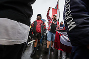 Members and supporters of Auckland Iwi march toward central Auckland in a Hikoi to protest the New Zealand government's plan to create an Auckland Supercity without Maori consultation and representation.<br /> 25th May 2009