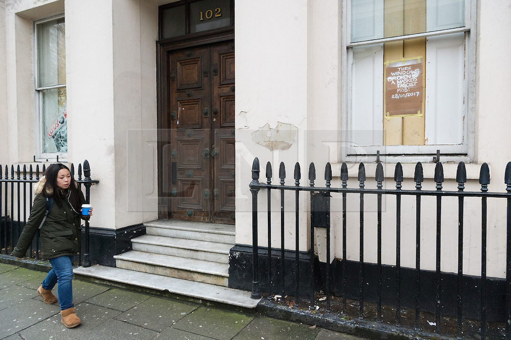 © Licensed to London News Pictures. 30/01/2017. Members of the Autonomous Nation of Anarchist Libertarians (Anal) have taken over a £15m London mansion owned by Russian billionaire Andrey Goncharenko.  The grade II listed building in Eaton Square was built in the early 1820's and was is believed to have been empty since Russian oligarch Andrey Goncharenko bought it in 2014.  The group intend to use the property as a homeless shelter and a community centre.  London, UK. Photo credit: Ray Tang/LNP