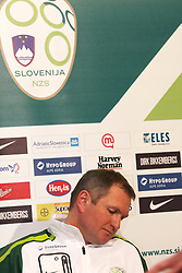 Head coach Matjaz Kek at press conference of Slovenian national team before EURO 2012 qualifications football match against Italy, on March 21, 2011 in Ptuj, Slovenia. (Photo by Marjan Kelner / Sportida.com)