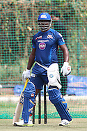 Dwayne Smith of Mumbai Indians during the Mumbai Indians training session ahead of their Karbonn Smart CLT20 2013 match against Highveld Lions held at the Sawai Mansingh Stadium in Jaipur on the 26th September 2013<br /> <br /> Photo by Shaun Roy-CLT20-SPORTZPICS <br /> <br /> Use of this image is subject to the terms and conditions as outlined by the BCCI. These terms can be found by following this link:<br /> <br /> http://www.sportzpics.co.za/image/I0000SoRagM2cIEc