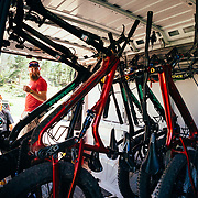 Brian Hanson of Salsa works on bikes during a demo day at Curt Gowdy State Park in Eastern Wyoming.