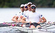 Members of the Canadian Olympic mens rowing quad (left to right) Julien Bahain, Rob Gibson, Will Dean and Pascal Lussier scull during a morning training session on Elk Lake in Victoria, British Columbia on June 22, 2016.
