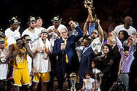 17 June 2010:  Head coach Phil Jackson of Los Angeles Lakers speaks to the crowd and celebrates after the Lakers defeat the Boston Celtics 83-79 and win the NBA championship in Game 7 of the NBA Finals at the STAPLES Center in Los Angeles, CA.